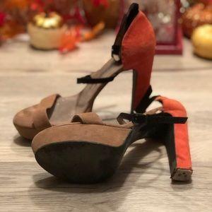 """Free people 4"""" heels in multicolor worn. 8.5"""